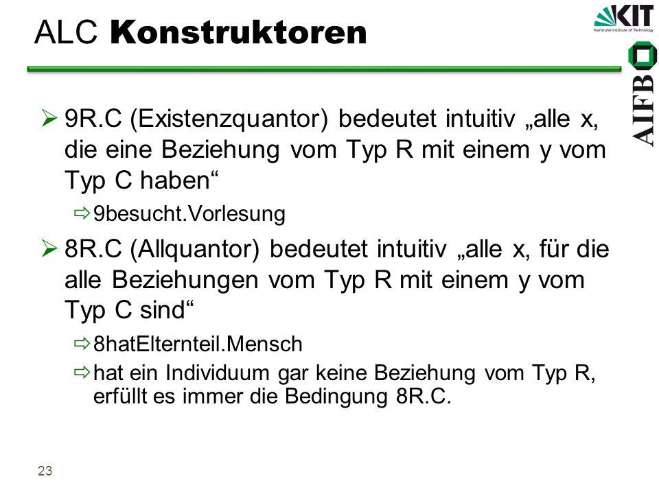 23 ALC Konstruktoren 9R.C (Existenzquantor) bedeutet intuitiv alle x, die eine Beziehung vom Typ R mit einem y vom Typ C haben 9besucht.Vorlesung 8R.C