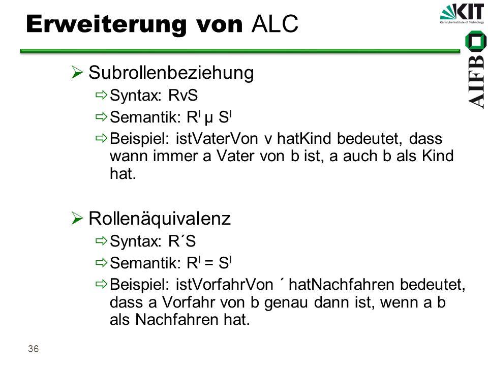 36 Erweiterung von ALC Subrollenbeziehung Syntax: RvS Semantik: R I µ S I Beispiel: istVaterVon v hatKind bedeutet, dass wann immer a Vater von b ist,