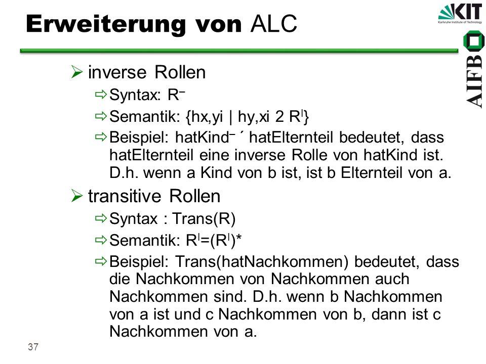 37 Erweiterung von ALC inverse Rollen Syntax: R – Semantik: {hx,yi | hy,xi 2 R I } Beispiel: hatKind – ´ hatElternteil bedeutet, dass hatElternteil ei
