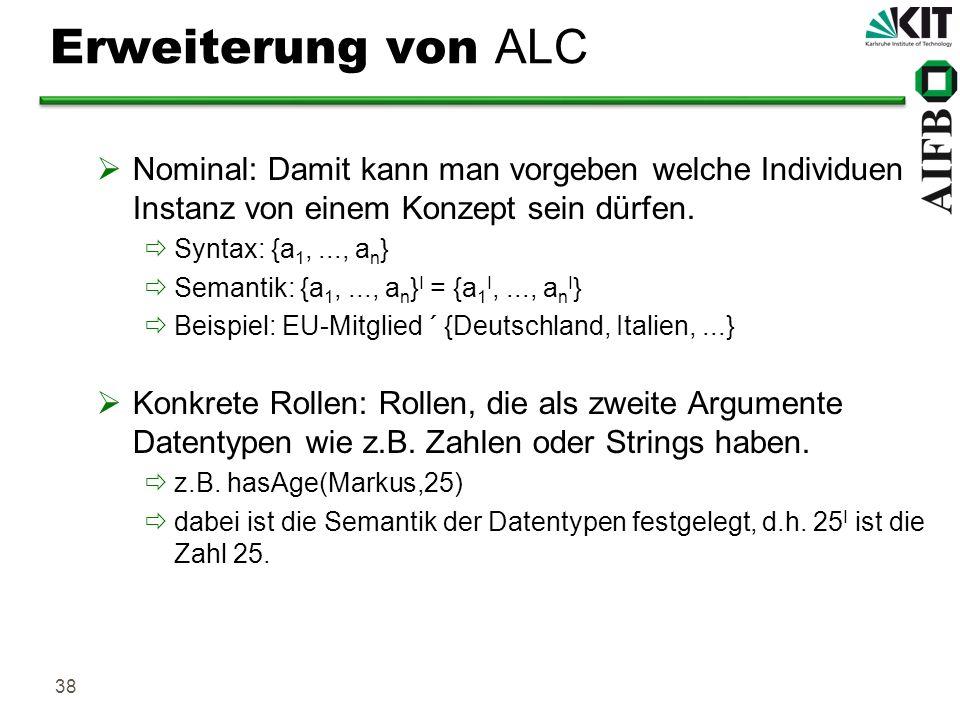 38 Erweiterung von ALC Nominal: Damit kann man vorgeben welche Individuen Instanz von einem Konzept sein dürfen. Syntax: {a 1,..., a n } Semantik: {a