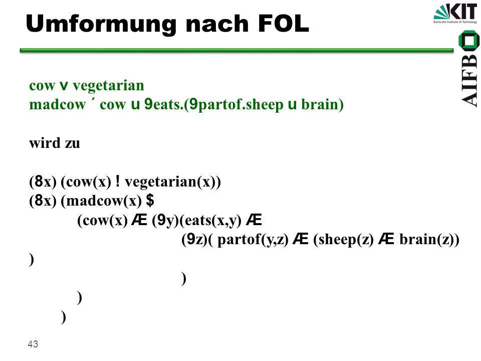 43 Umformung nach FOL cow v vegetarian madcow ´ cow u 9 eats.( 9 partof.sheep u brain) wird zu ( 8 x) (cow(x) ! vegetarian(x)) ( 8 x) (madcow(x) $ (co