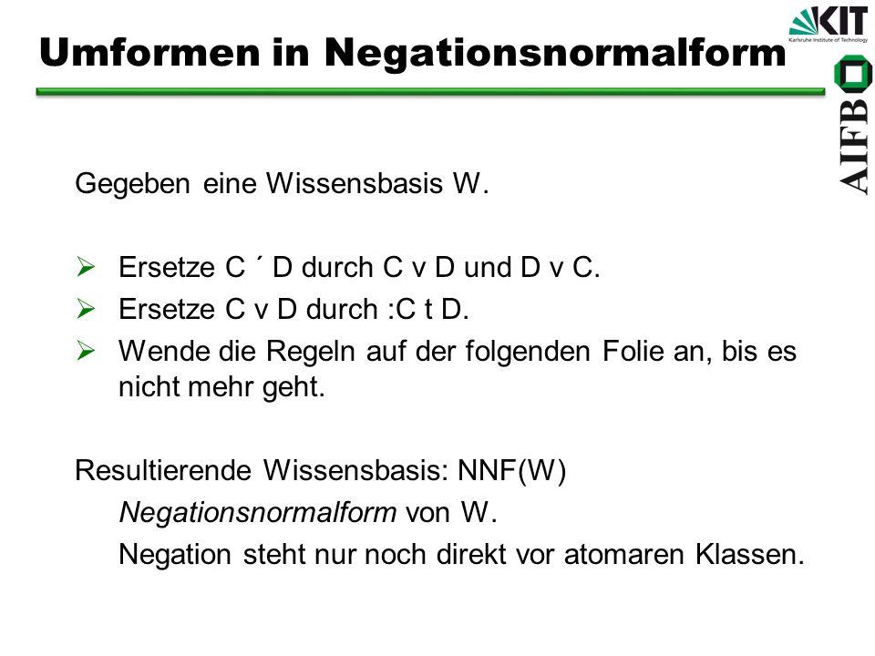 Umformen in Negationsnormalform Gegeben eine Wissensbasis W. Ersetze C ´ D durch C v D und D v C. Ersetze C v D durch :C t D. Wende die Regeln auf der