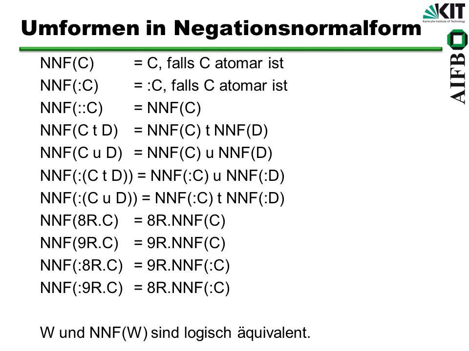 NNF(C) = C, falls C atomar ist NNF(:C) = :C, falls C atomar ist NNF(::C) = NNF(C) NNF(C t D) = NNF(C) t NNF(D) NNF(C u D) = NNF(C) u NNF(D) NNF(:(C t