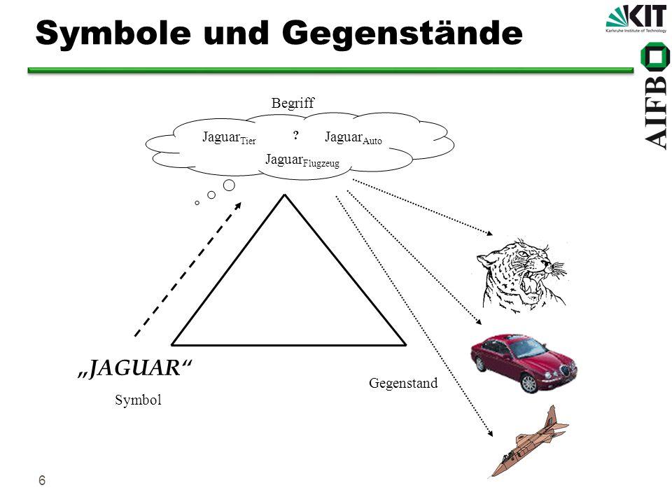 7 Ontologien für Kommunikation Die Ontologie reduziert die Anzahl von Abbildungen von Symbolen auf Gegenstände der realen Welt, im Idealfall ist die Abbildung eindeutig JAGUAR Gegenstand der realen WeltSymbol aus dem Vokabular Begriff in der Ontologie