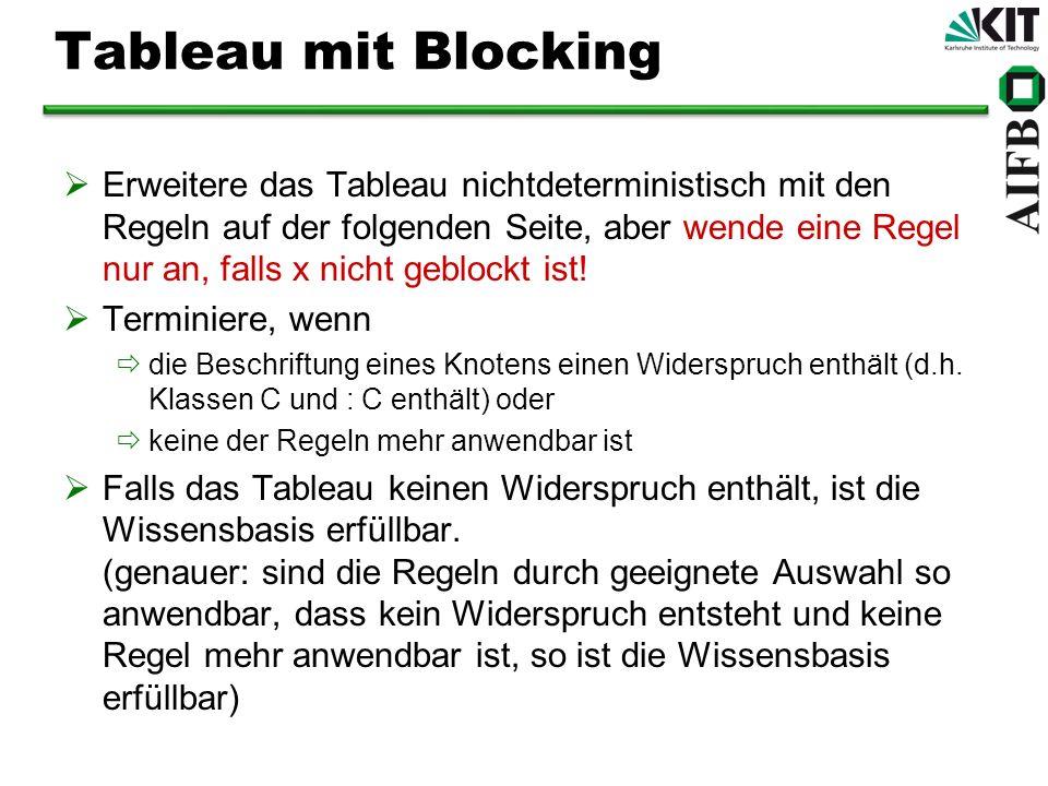 Tableau mit Blocking Erweitere das Tableau nichtdeterministisch mit den Regeln auf der folgenden Seite, aber wende eine Regel nur an, falls x nicht ge