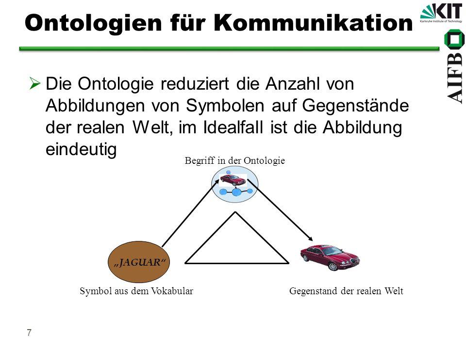 8 Ontologiesprachen Sprachen, mit denen man konzeptuell modellieren kann: Prädikatenlogik erster Stufe Frame-Logic RDF(S) und OWL (W3C Recommendations) Sprachen unterscheiden sich in ihrer Ausdrucksmächtigkeit Anforderung: Formale Semantik und Ausführbarkeit Ontologiesprachen sollten für das Semantic Web geeignet sein, siehe z.B.