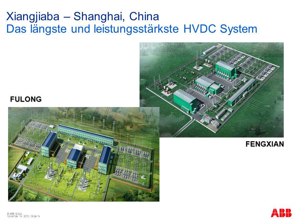 © ABB Group November 14, 2013 | Slide 14 Xiangjiaba – Shanghai, China Das längste und leistungsstärkste HVDC SystemFULONG FENGXIAN
