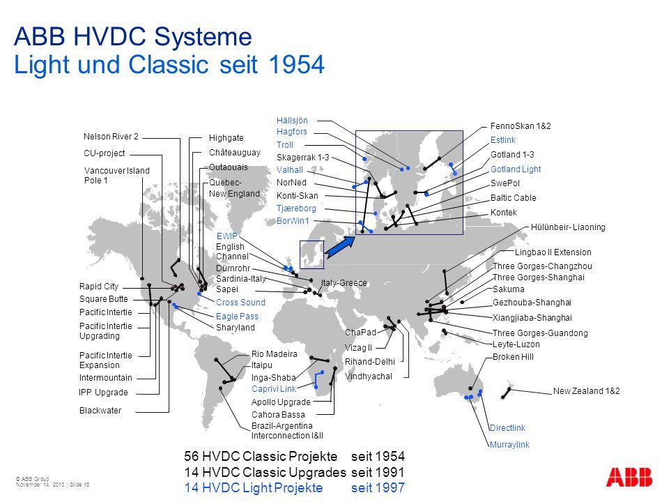 © ABB Group November 14, 2013 | Slide 18 56 HVDC Classic Projekteseit 1954 14 HVDC Classic Upgradesseit 1991 14 HVDC Light Projekte seit 1997 ABB HVDC