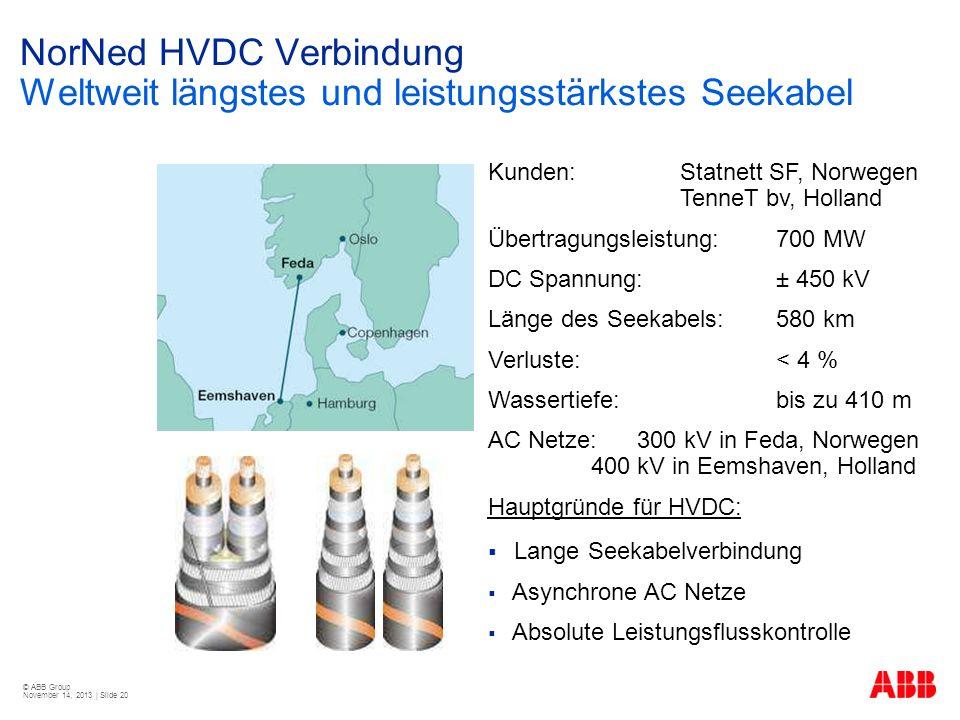 © ABB Group November 14, 2013 | Slide 20 NorNed HVDC Verbindung Weltweit längstes und leistungsstärkstes Seekabel Kunden: Statnett SF, Norwegen TenneT