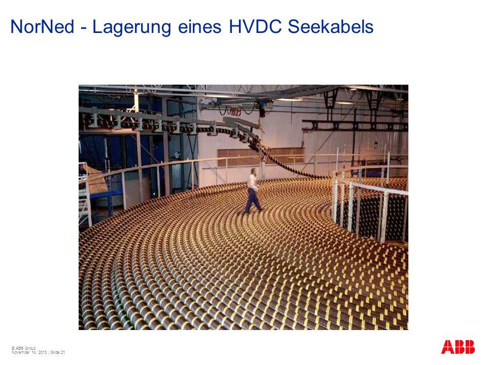 © ABB Group November 14, 2013 | Slide 21 NorNed - Lagerung eines HVDC Seekabels