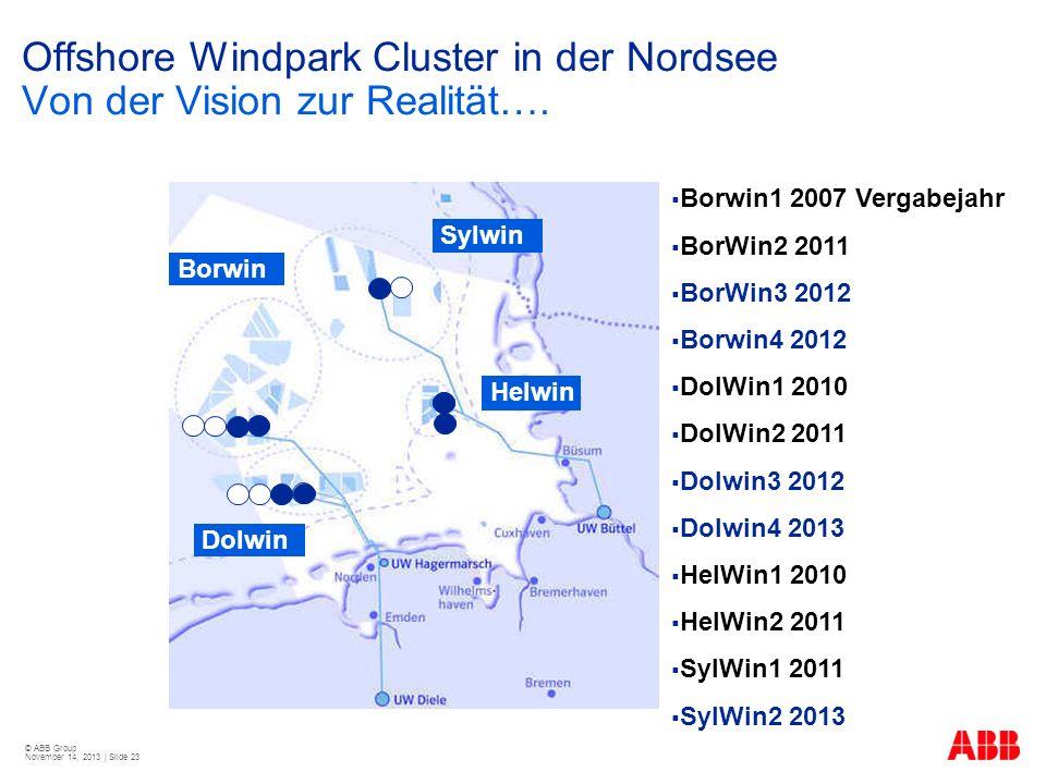 © ABB Group November 14, 2013 | Slide 23 Offshore Windpark Cluster in der Nordsee Von der Vision zur Realität…. Borwin Dolwin Helwin Sylwin Borwin1 20