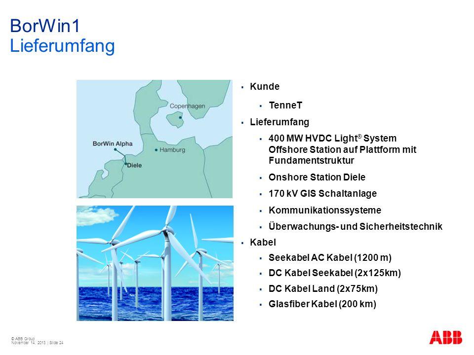 © ABB Group November 14, 2013 | Slide 24 Kunde TenneT Lieferumfang 400 MW HVDC Light ® System Offshore Station auf Plattform mit Fundamentstruktur Ons