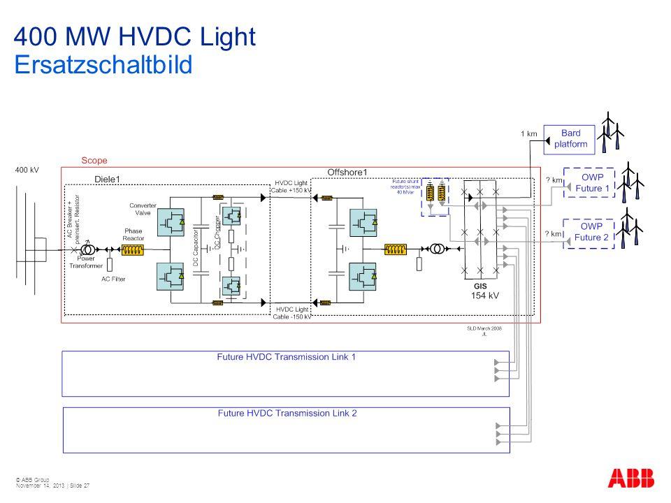 © ABB Group November 14, 2013 | Slide 27 400 MW HVDC Light Ersatzschaltbild