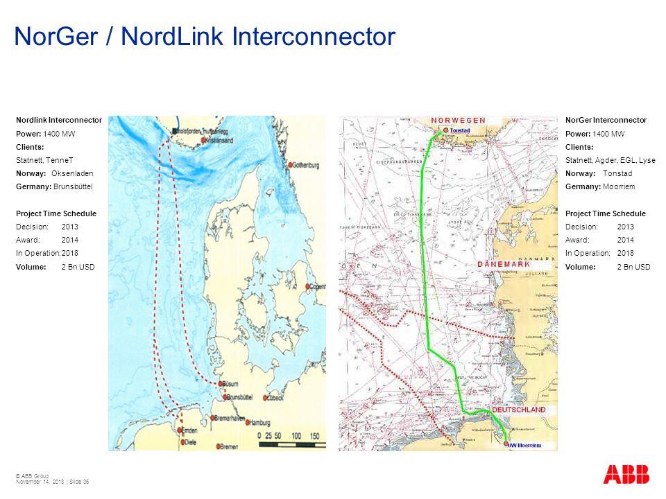 © ABB Group November 14, 2013 | Slide 36 NorGer / NordLink Interconnector Nordlink Interconnector Power: 1400 MW Clients: Statnett, TenneT Norway: Oks