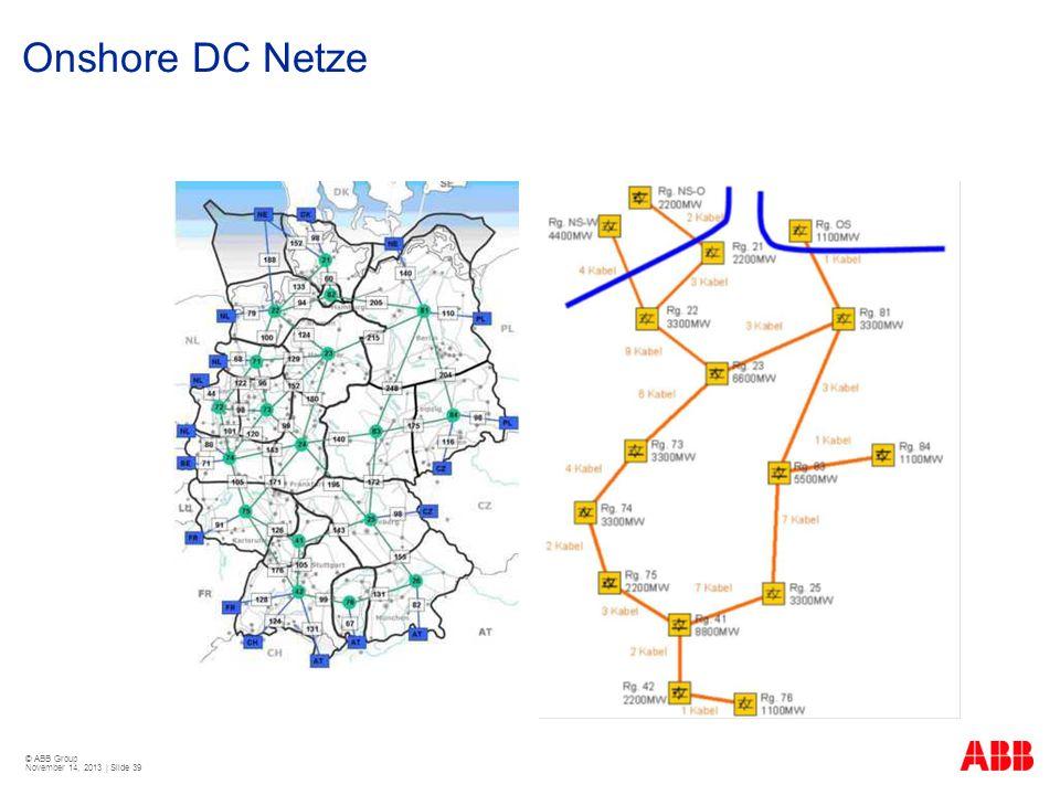 © ABB Group November 14, 2013 | Slide 39 Onshore DC Netze