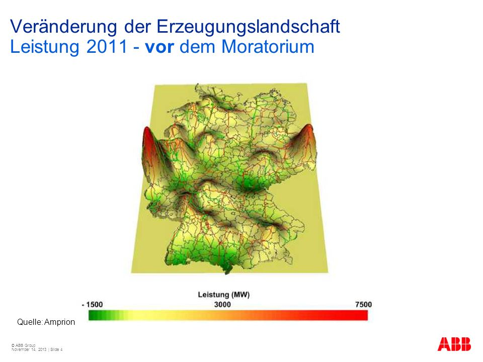 © ABB Group November 14, 2013 | Slide 4 Veränderung der Erzeugungslandschaft Leistung 2011 - vor dem Moratorium Quelle: Amprion