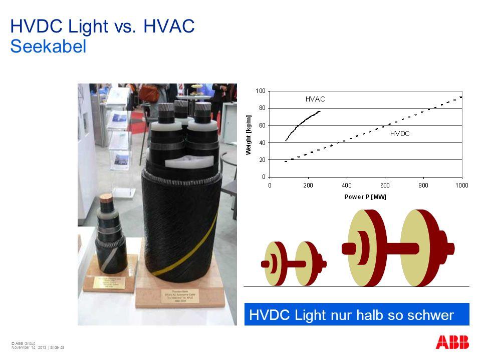 © ABB Group November 14, 2013 | Slide 45 HVDC Light vs. HVAC Seekabel HVDC Light nur halb so schwer