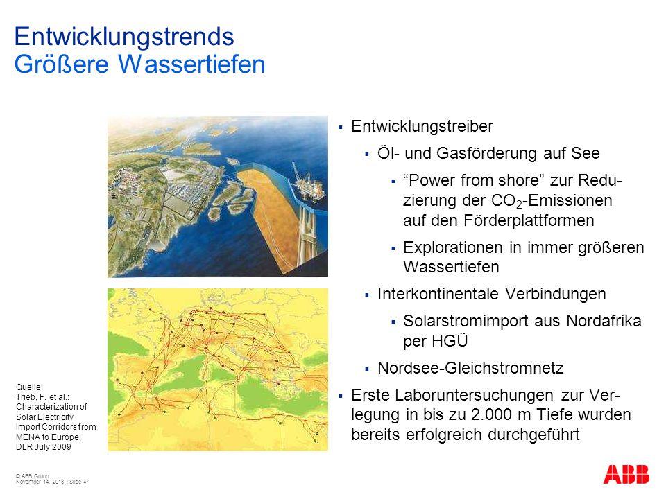 © ABB Group November 14, 2013 | Slide 47 Entwicklungstrends Größere Wassertiefen Entwicklungstreiber Öl- und Gasförderung auf See Power from shore zur
