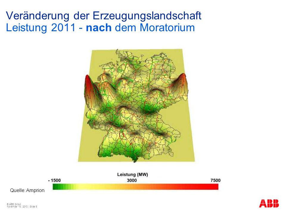 © ABB Group November 14, 2013 | Slide 5 Veränderung der Erzeugungslandschaft Leistung 2011 - nach dem Moratorium Quelle: Amprion