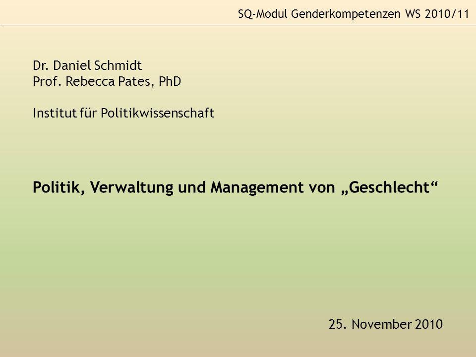 SQ-Modul Genderkompetenzen WS 2010/11 25. November 2010 Dr. Daniel Schmidt Prof. Rebecca Pates, PhD Institut für Politikwissenschaft Politik, Verwaltu