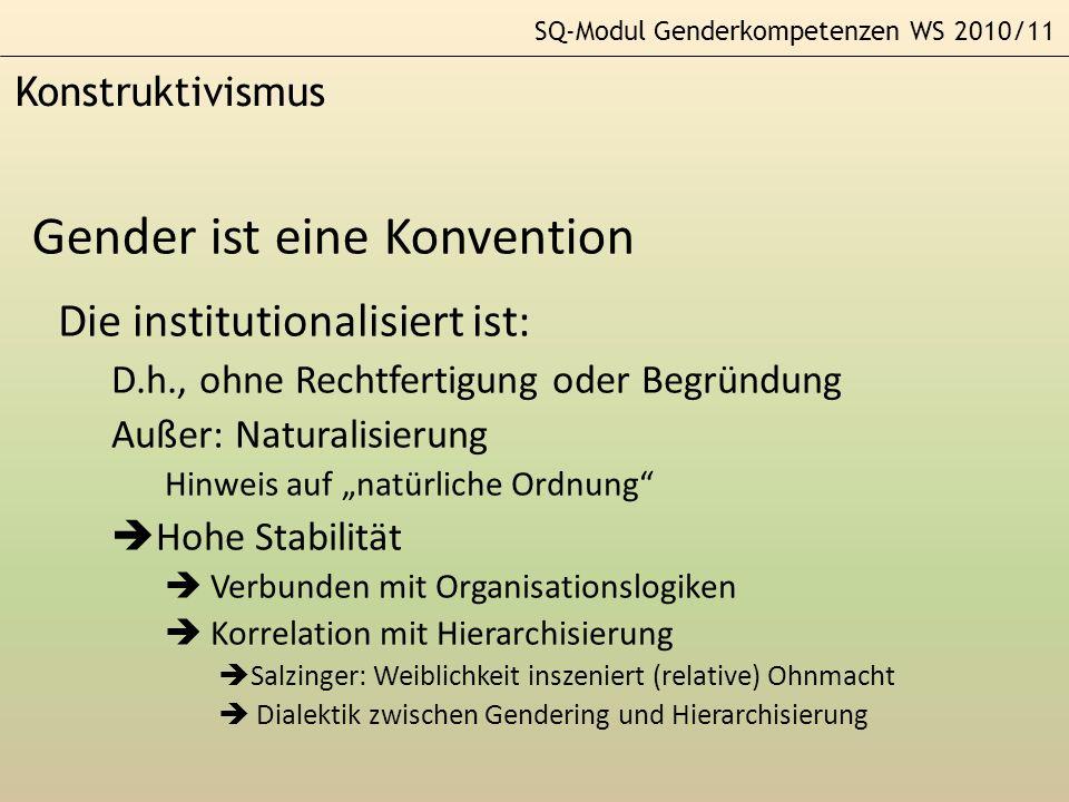 SQ-Modul Genderkompetenzen WS 2010/11 Konstruktivismus Gender ist eine Konvention Die institutionalisiert ist: D.h., ohne Rechtfertigung oder Begründu