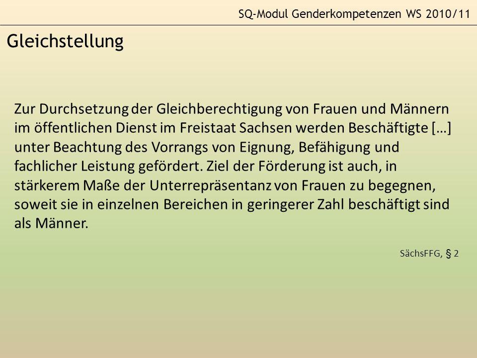 SQ-Modul Genderkompetenzen WS 2010/11 Gleichstellung Zur Durchsetzung der Gleichberechtigung von Frauen und Männern im öffentlichen Dienst im Freistaa