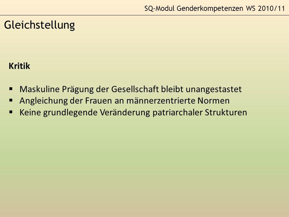 SQ-Modul Genderkompetenzen WS 2010/11 Theorie und Praxis GleichheitsansatzDifferenzansatzKonstruktivismus Theoret.