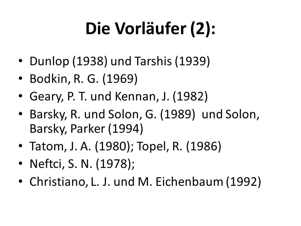 Die Vorläufer (2): Dunlop (1938) und Tarshis (1939) Bodkin, R. G. (1969) Geary, P. T. und Kennan, J. (1982) Barsky, R. und Solon, G. (1989) und Solon,