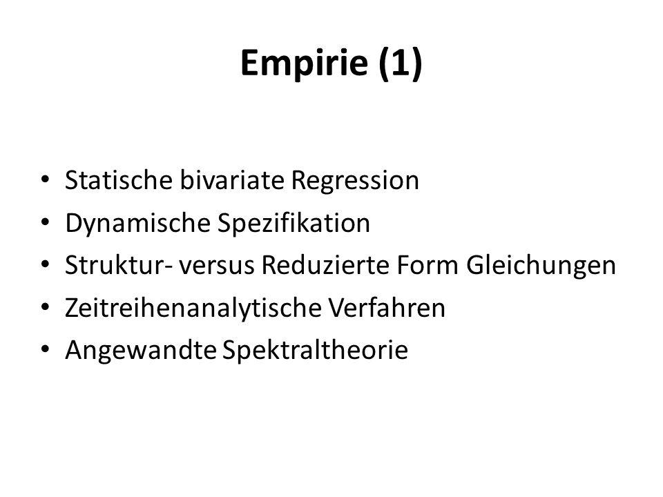 Empirie (2) Abgrenzung eines Konjunkturzyklus / Frequenzband (Burns/Mitchell: 1,5 – 8 Jahre / 0.2 – 1.0 Frequenzband) Spezifikation der Dynamik Identifikationsproblem: Nachfrage oder Angebot.