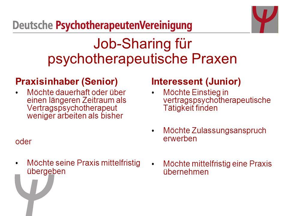 Praxisinhaber (Senior) Möchte dauerhaft oder über einen längeren Zeitraum als Vertragspsychotherapeut weniger arbeiten als bisher Interessent (Junior)