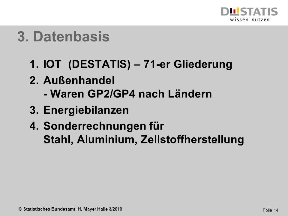 © Statistisches Bundesamt, H. Mayer Halle 3/2010 Folie 14 3. Datenbasis 1.IOT (DESTATIS) – 71-er Gliederung 2.Außenhandel - Waren GP2/GP4 nach Ländern
