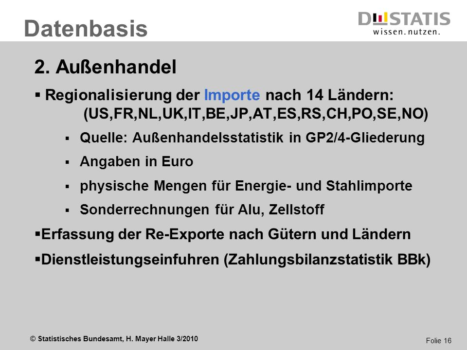 © Statistisches Bundesamt, H. Mayer Halle 3/2010 Folie 16 2. Außenhandel Regionalisierung der Importe nach 14 Ländern: (US,FR,NL,UK,IT,BE,JP,AT,ES,RS,