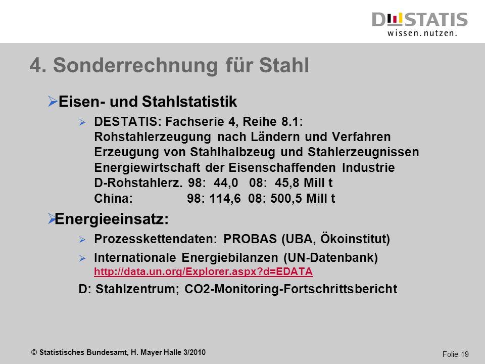 © Statistisches Bundesamt, H. Mayer Halle 3/2010 Folie 19 4. Sonderrechnung für Stahl Eisen- und Stahlstatistik DESTATIS: Fachserie 4, Reihe 8.1: Rohs