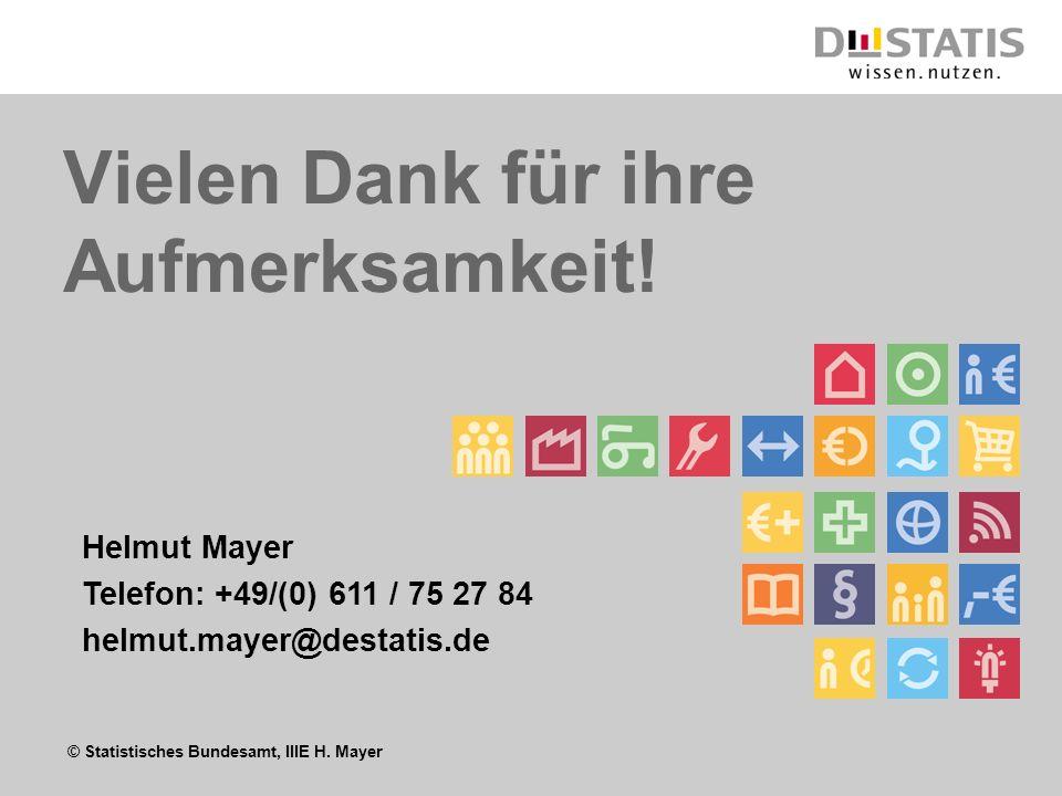 © Statistisches Bundesamt, IIIE H. Mayer Vielen Dank für ihre Aufmerksamkeit! Helmut Mayer Telefon: +49/(0) 611 / 75 27 84 helmut.mayer@destatis.de