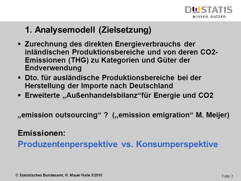 © Statistisches Bundesamt, H. Mayer Halle 3/2010 Folie 3 1.1. Analysemodell (Zielsetzung) Zurechnung des direkten Energieverbrauchs der inländischen P