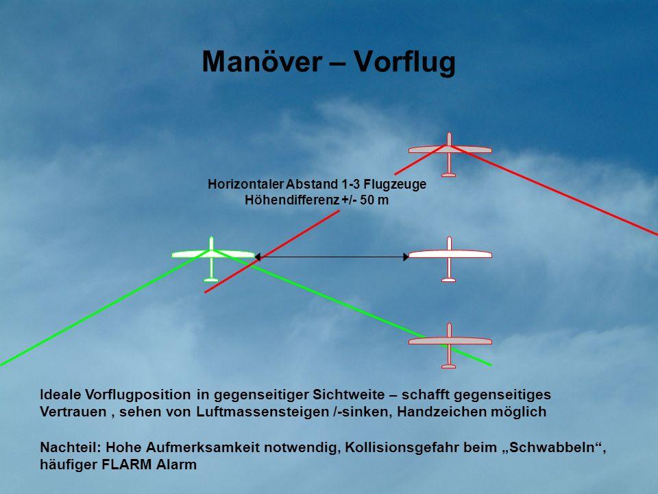 Manöver – Vorflug Horizontaler Abstand 1-3 Flugzeuge Höhendifferenz +/- 50 m Ideale Vorflugposition in gegenseitiger Sichtweite – schafft gegenseitige