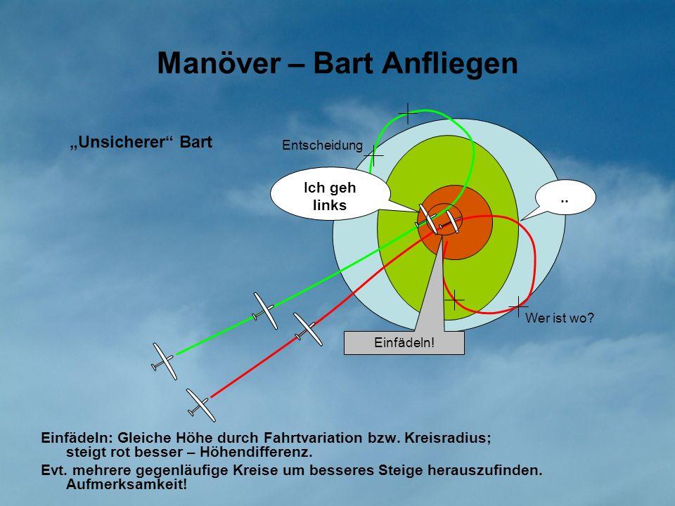 Manöver – Bart Anfliegen Einfädeln: Gleiche Höhe durch Fahrtvariation bzw. Kreisradius; steigt rot besser – Höhendifferenz. Evt. mehrere gegenläufige