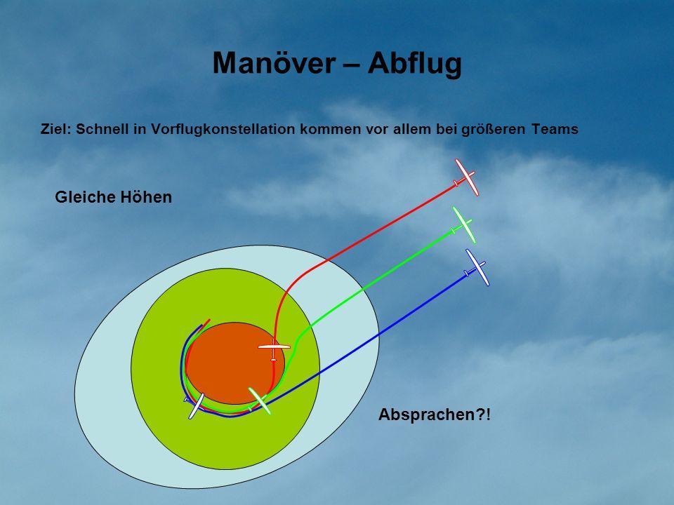 Manöver – Abflug Ziel: Schnell in Vorflugkonstellation kommen vor allem bei größeren Teams Gleiche Höhen Absprachen?!