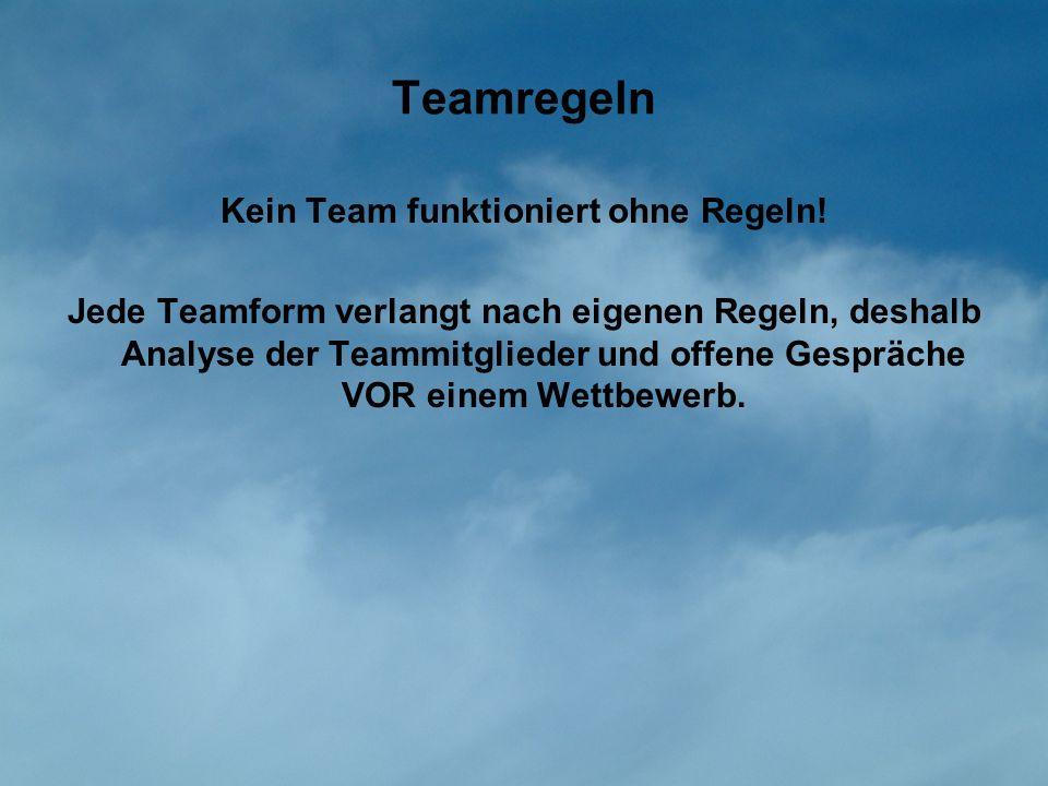 Teamregeln Kein Team funktioniert ohne Regeln! Jede Teamform verlangt nach eigenen Regeln, deshalb Analyse der Teammitglieder und offene Gespräche VOR