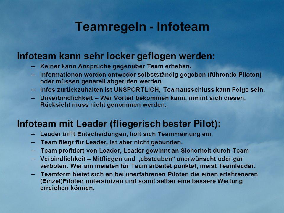 Teamregeln - Infoteam Infoteam kann sehr locker geflogen werden: –Keiner kann Ansprüche gegenüber Team erheben. –Informationen werden entweder selbsts