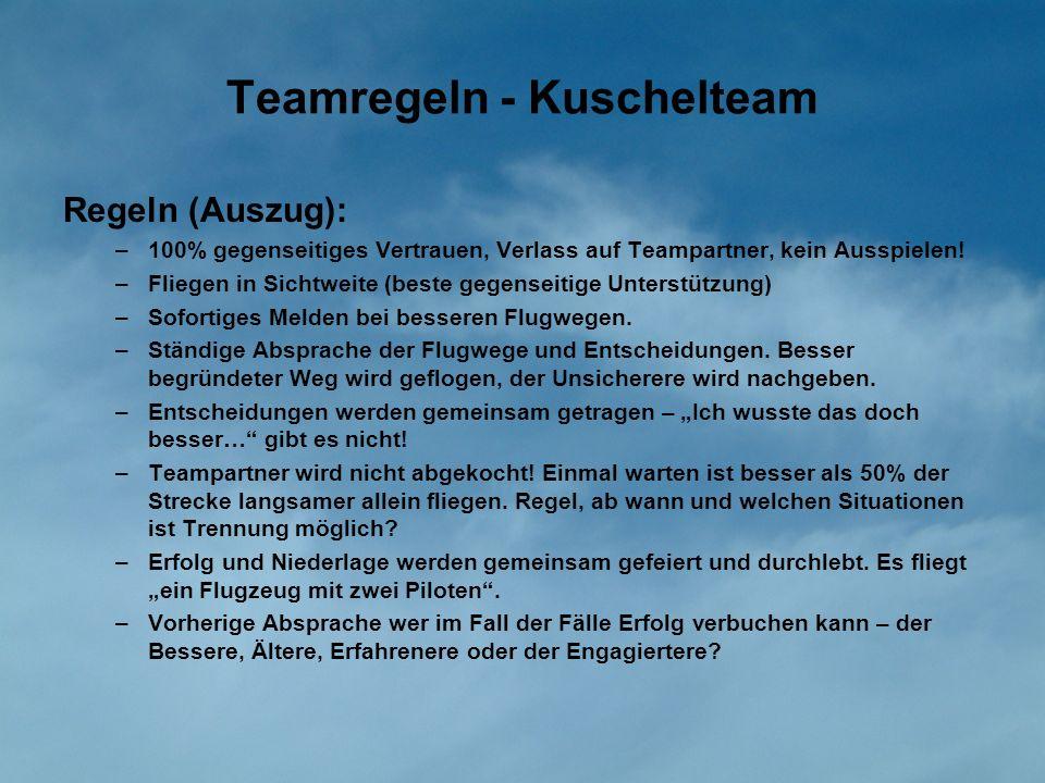 Teamregeln - Kuschelteam Regeln (Auszug): –100% gegenseitiges Vertrauen, Verlass auf Teampartner, kein Ausspielen! –Fliegen in Sichtweite (beste gegen