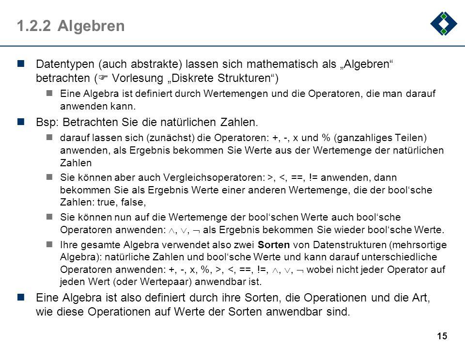 1.2.2Algebren Datentypen (auch abstrakte) lassen sich mathematisch als Algebren betrachten ( Vorlesung Diskrete Strukturen) Eine Algebra ist definiert