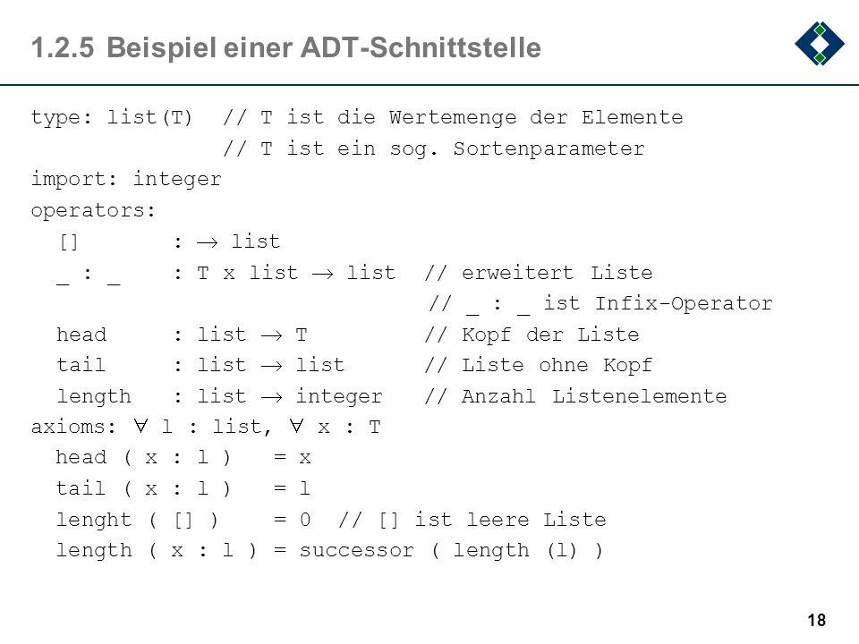 1.2.5Beispiel einer ADT-Schnittstelle type: list(T) // T ist die Wertemenge der Elemente // T ist ein sog. Sortenparameter import: integer operators: