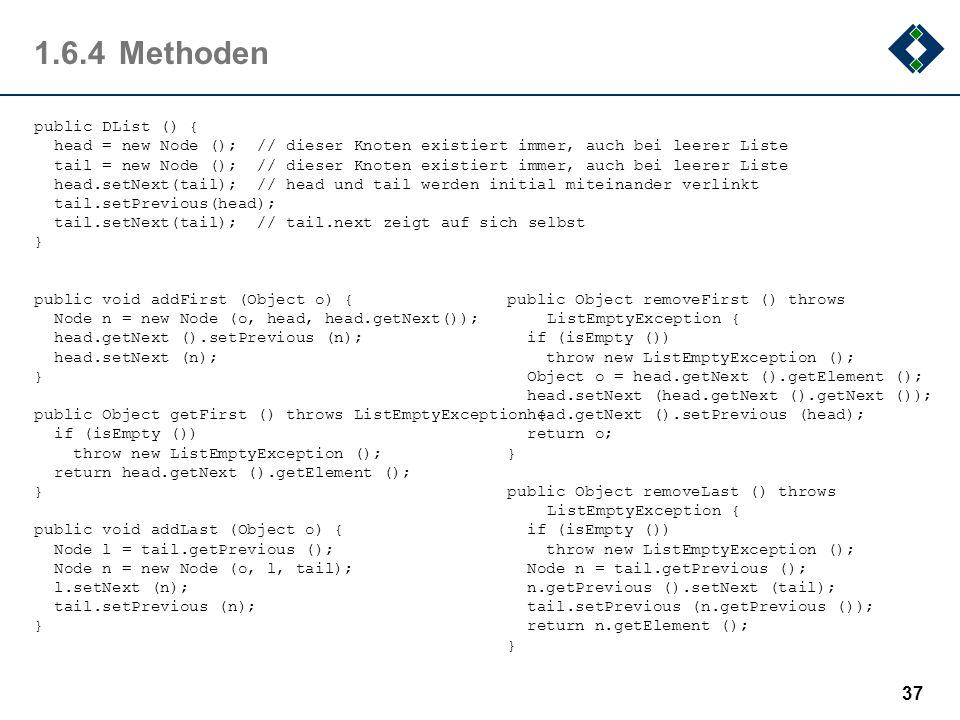 1.6.4Methoden public DList () { head = new Node (); // dieser Knoten existiert immer, auch bei leerer Liste tail = new Node (); // dieser Knoten exist