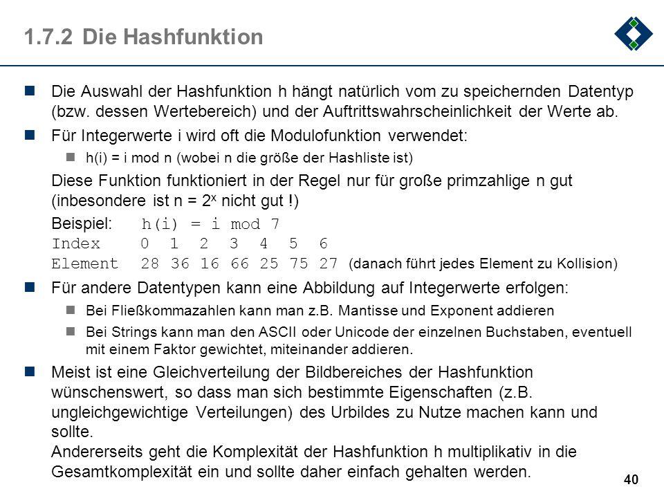 1.7.2Die Hashfunktion Die Auswahl der Hashfunktion h hängt natürlich vom zu speichernden Datentyp (bzw. dessen Wertebereich) und der Auftrittswahrsche