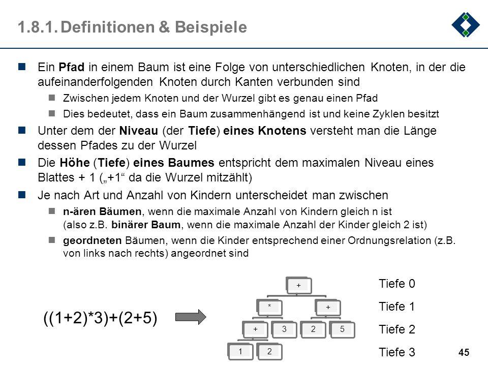 1.8.1.Definitionen & Beispiele Ein Pfad in einem Baum ist eine Folge von unterschiedlichen Knoten, in der die aufeinanderfolgenden Knoten durch Kanten