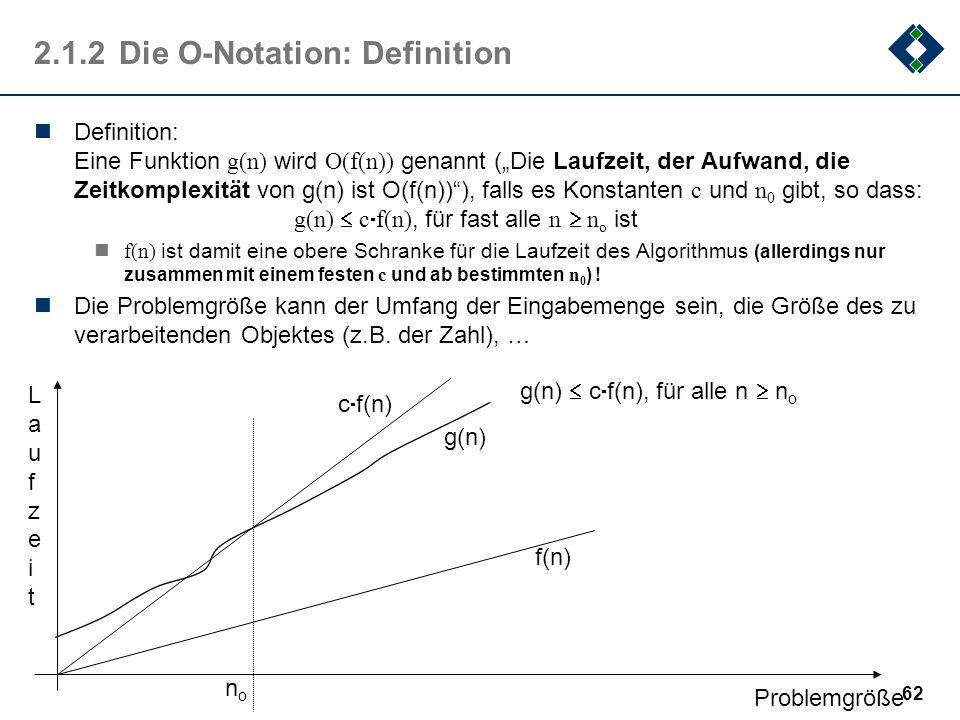 62 2.1.2Die O-Notation: Definition Definition: Eine Funktion g(n) wird O(f(n)) genannt (Die Laufzeit, der Aufwand, die Zeitkomplexität von g(n) ist O(