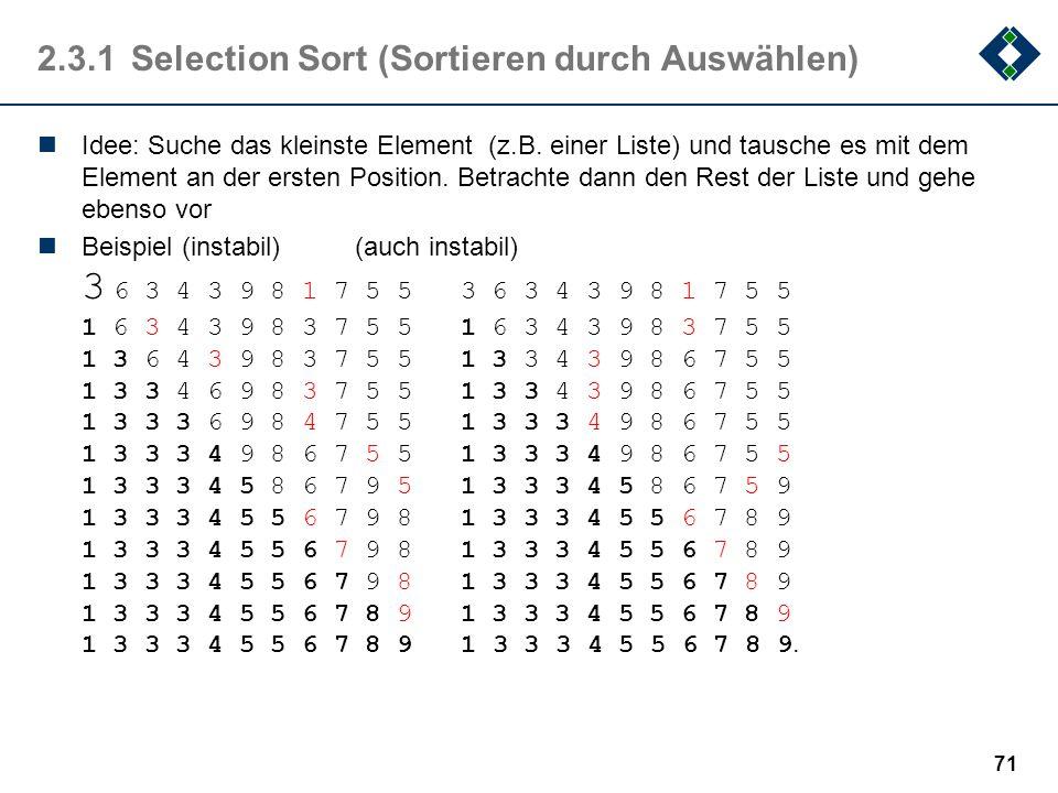 2.3.1Selection Sort (Sortieren durch Auswählen) Idee: Suche das kleinste Element (z.B. einer Liste) und tausche es mit dem Element an der ersten Posit
