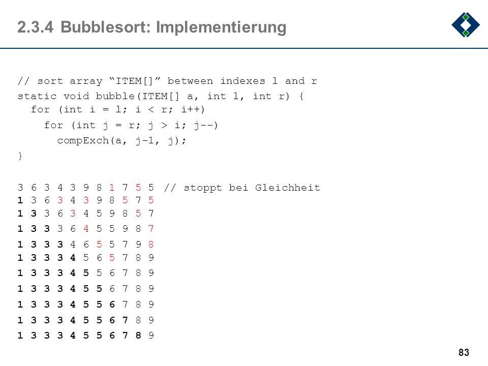 2.3.4Bubblesort: Implementierung // sort array ITEM[] between indexes l and r static void bubble(ITEM[] a, int l, int r) { for (int i = l; i < r; i++)
