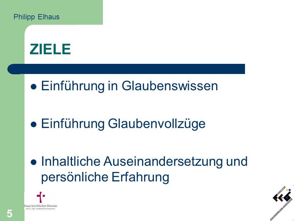 5 ZIELE Einführung in Glaubenswissen Einführung Glaubenvollzüge Inhaltliche Auseinandersetzung und persönliche Erfahrung Philipp Elhaus